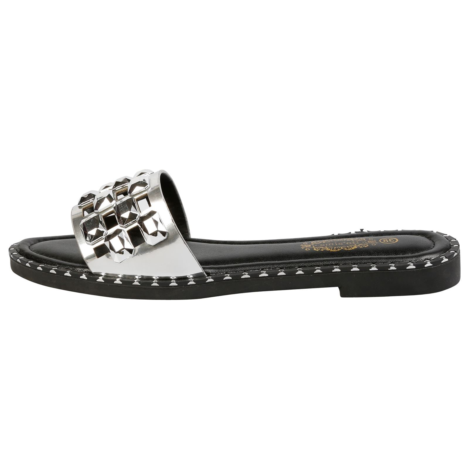 Nya Jewelled Sliders in Silver