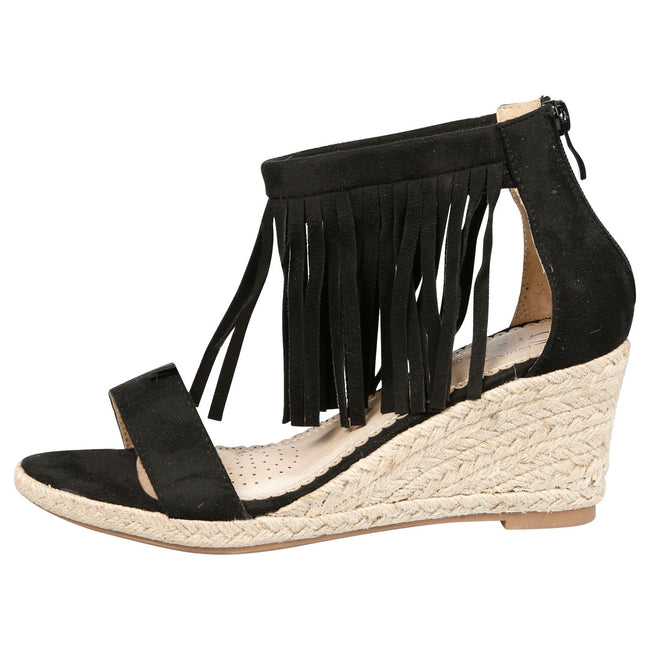 Nadja Fringed Wedge Espadrille Sandals in Black Faux Suede