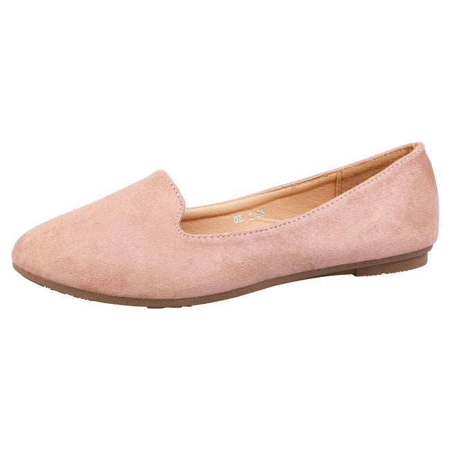Antonia Loafer Flats in Pink Faux Suede