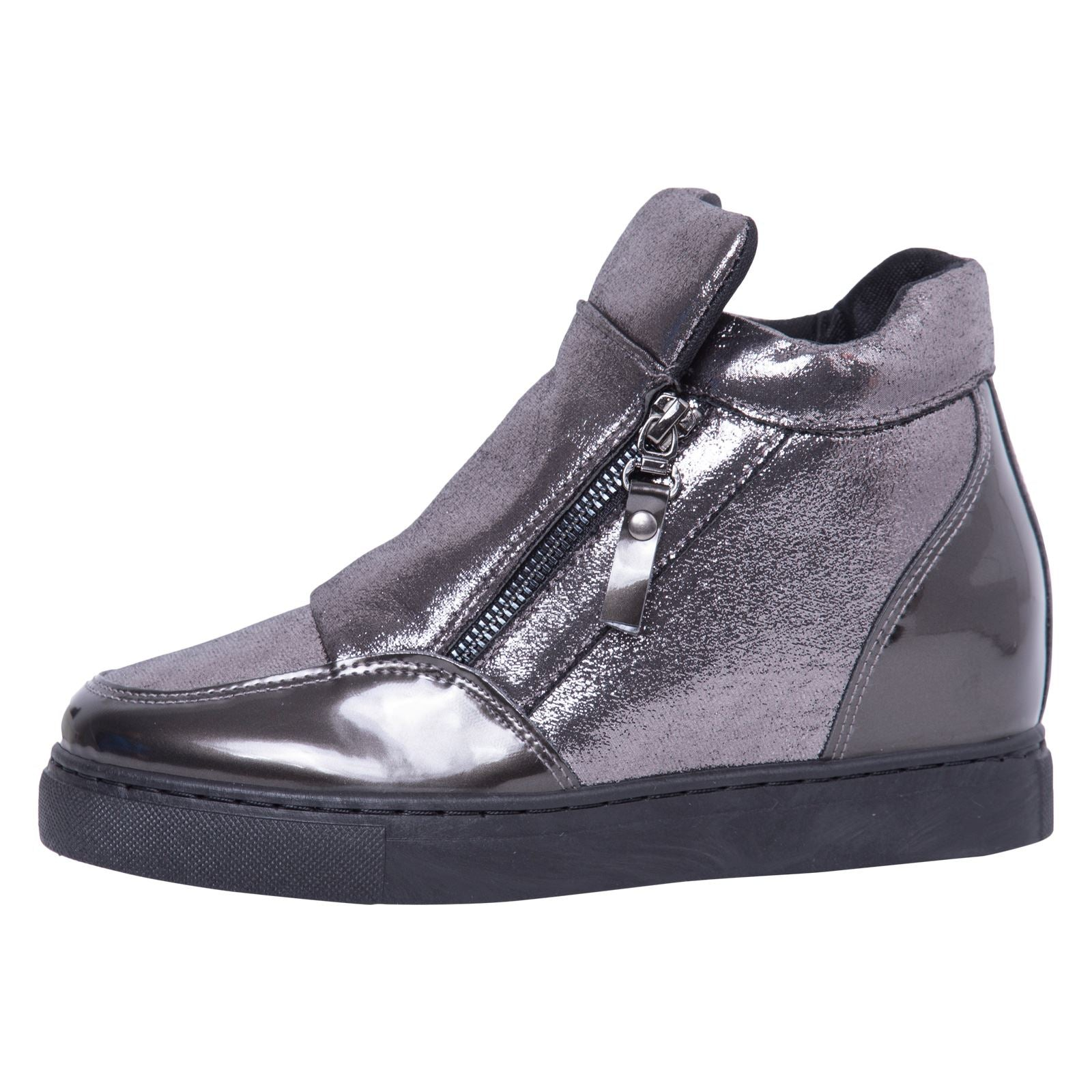 Kacee Stylish Wedge Trainers in Gun With Shimmer