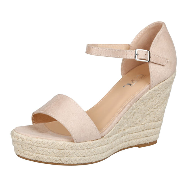 Gail Platform Wedge Ankle Strap Espadrille Sandals in Pink Faux Suede