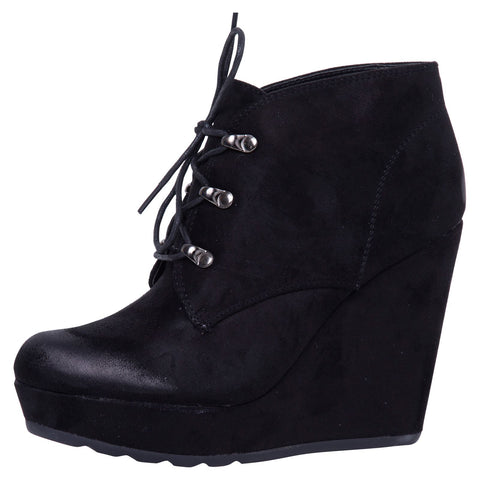 Audrina Lace Up Ankle Boots in Black Faux Leather
