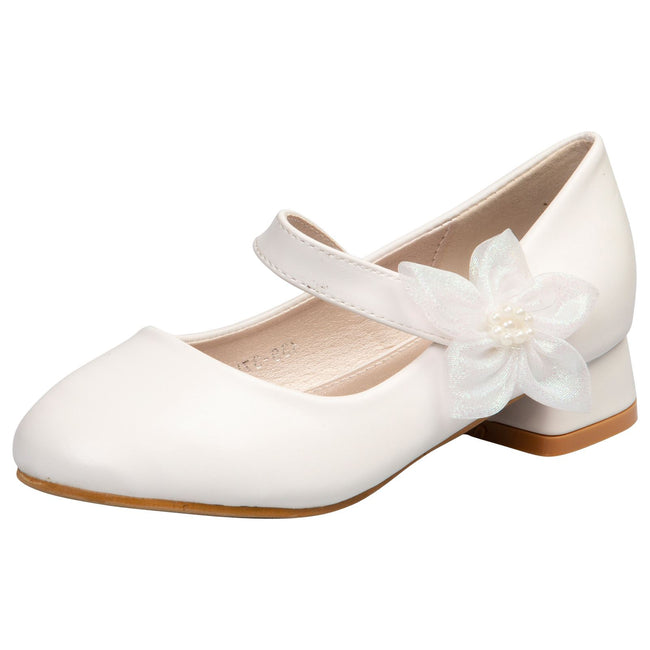 Luciana Girls Mary janes in White Faux Leather - Feet First Fashion