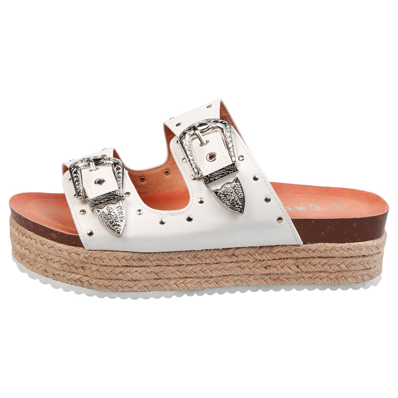 Gianna Buckle Detail Flatform Espadrille Sliders in White Faux Leather