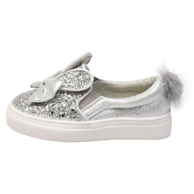 Bunny Girls Glitter Pom Pom Plimsolls in Silver - Feet First Fashion