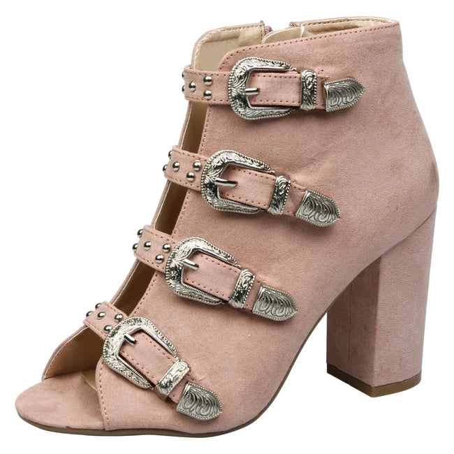 Nami Buckled Peep Toe Ankle Boots in Pink Faux Suede