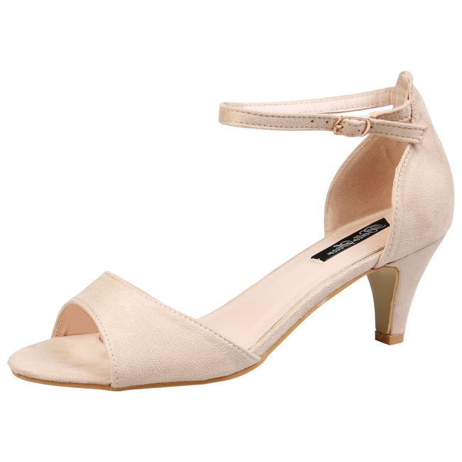 Laurie Low Heel Ankle Strap Sandals in Beige Faux Suede