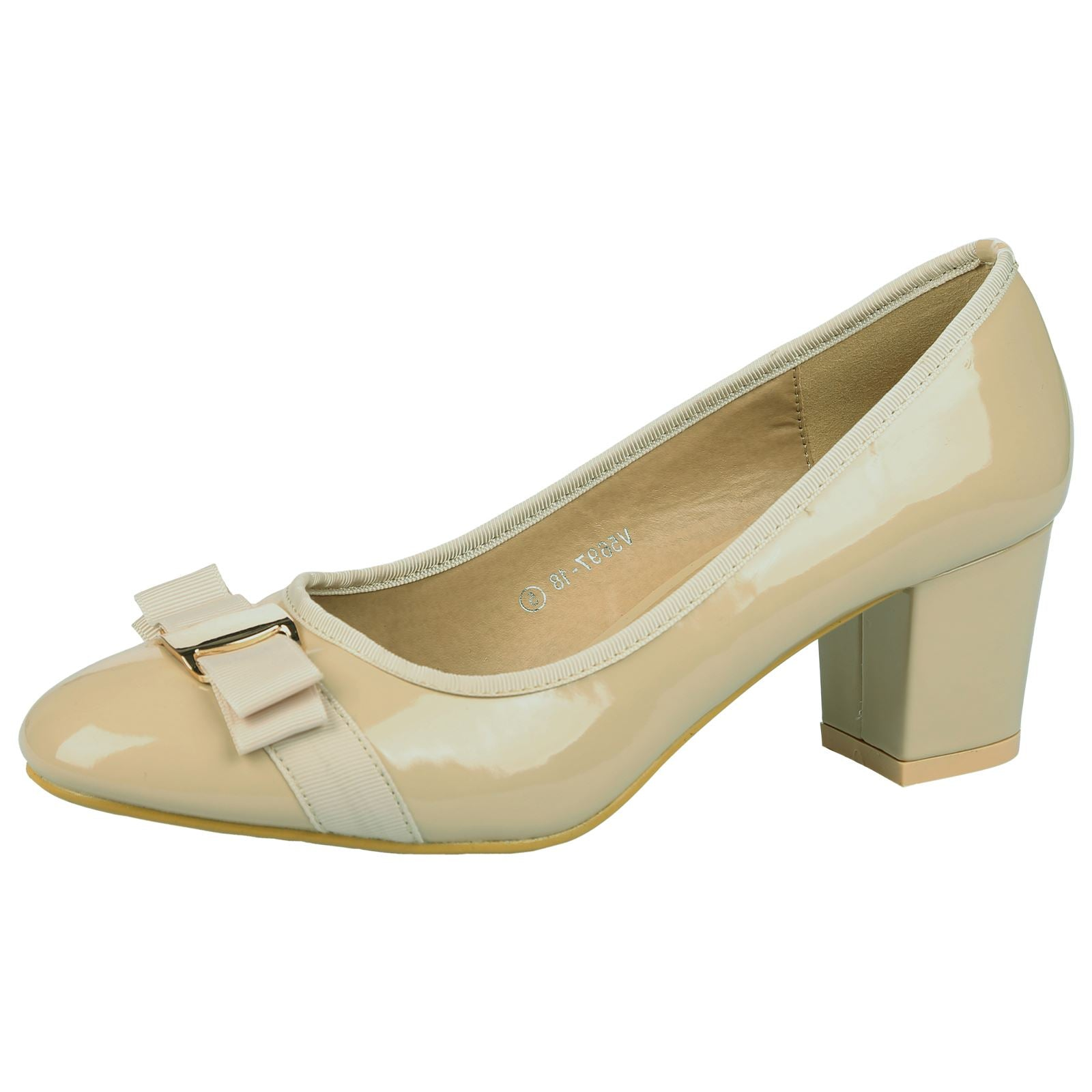 Cherie Bow Detail Low Heel Court Shoes in Beige Nude Patent