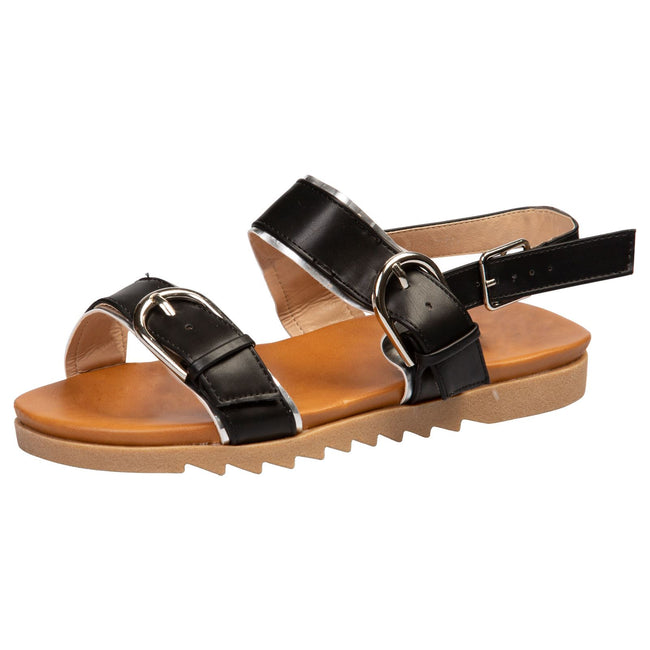 Alice Buckle Detail Sandals in Black Faux Leather