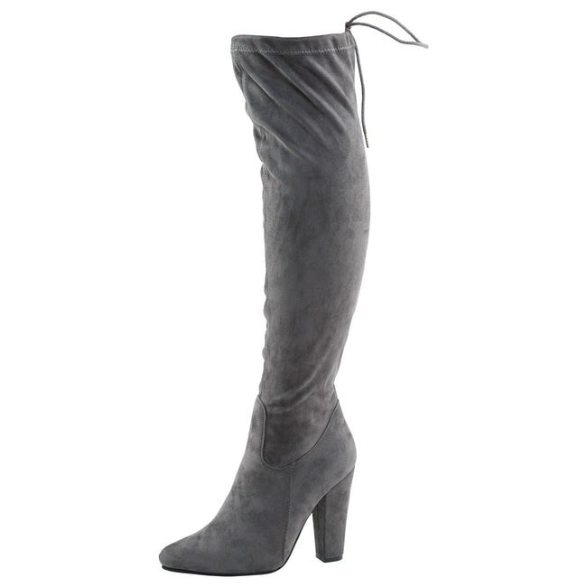 Ivone Block Heel Tie Top Over the Knee Boots in Grey Faux Suede
