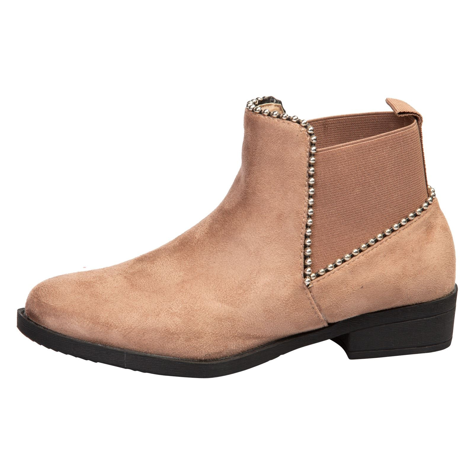 Presley Chelsea Boots in Khaki Tan Faux Suede - Feet First Fashion