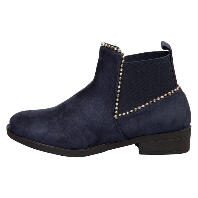 Presley Chelsea Boots in Navy Blue Faux Suede - Feet First Fashion
