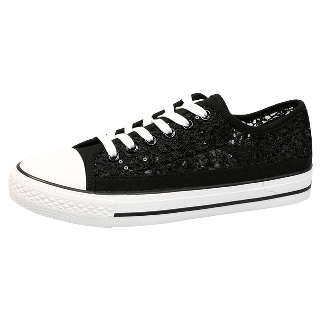 Sherilyn Floral Mesh Skater Trainers in Black