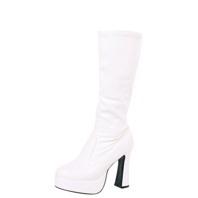 Memphis Knee High Platform GoGo Boots in White Faux Leather