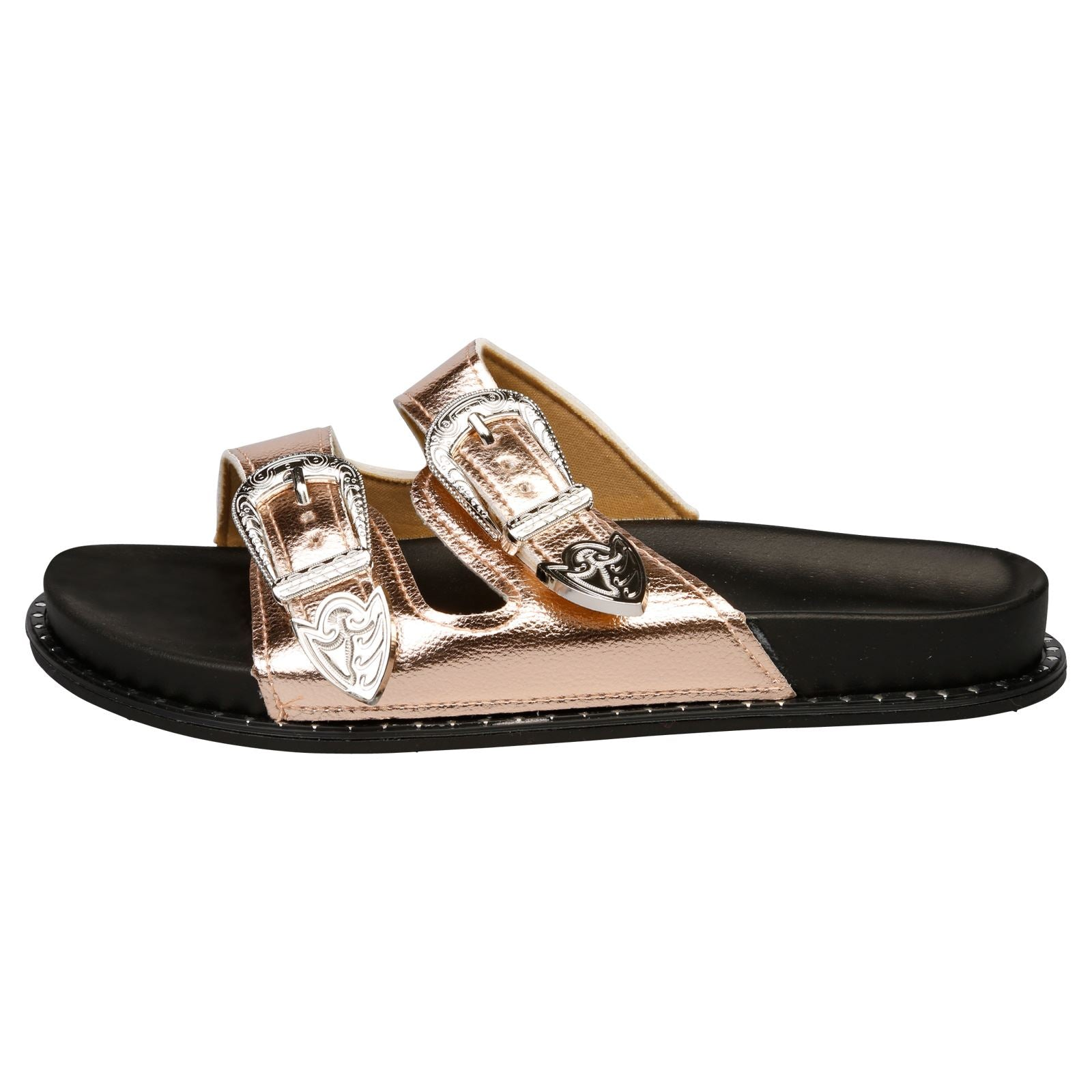 Harmoni Buckle Detail Flat Sandals in Chamagne - Feet First Fashion