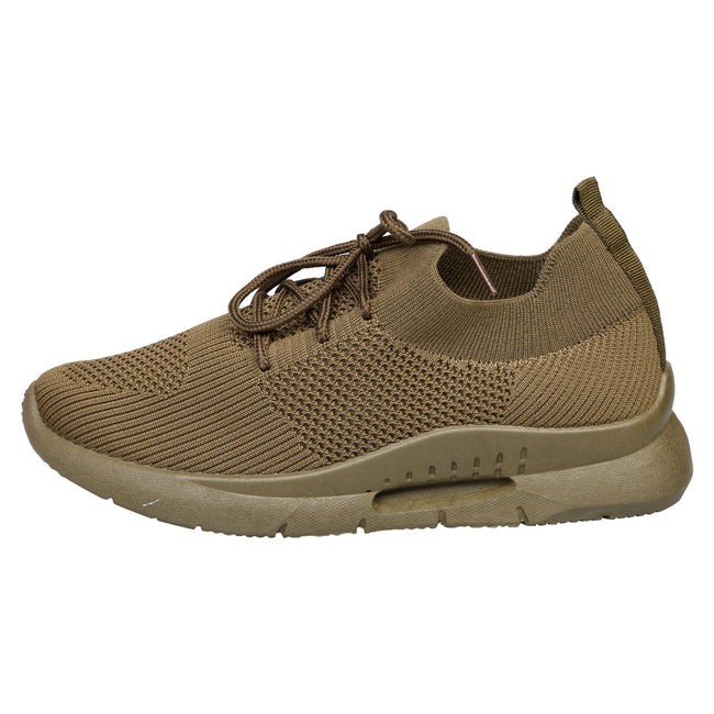 Dalary Knit Pull On Trainers  in Khaki Green - Feet First Fashion