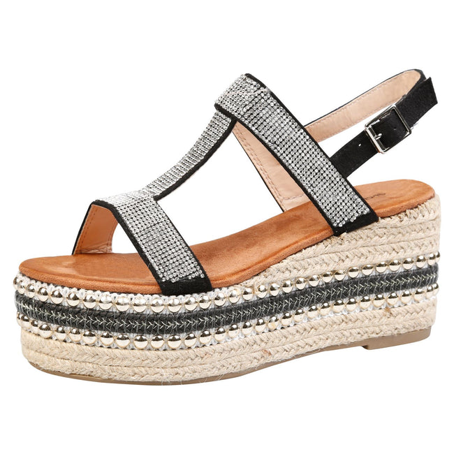 Brenda Diamante Espadrille Sandals in Black Faux Suede
