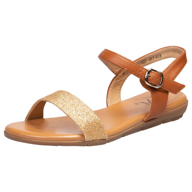 Lucy Flat Glitter Sandals in Camel