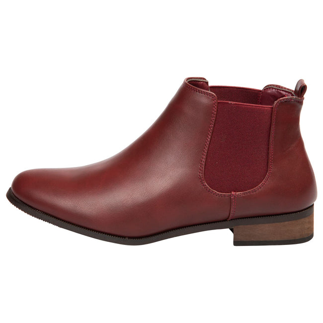 Emma Classic Chelsea Boots in Wine Red Faux Leather - Feet First Fashion