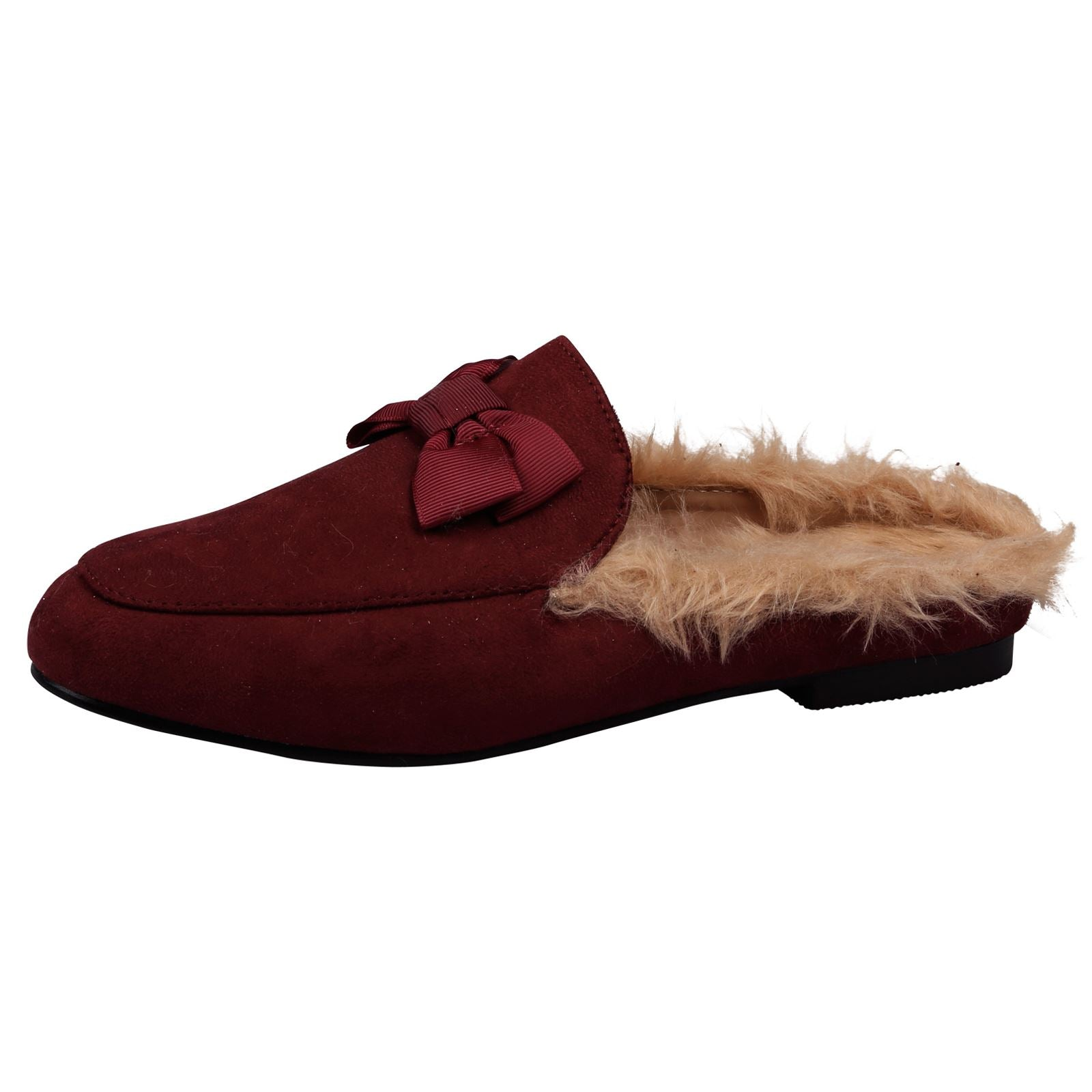 Dorothy Backless Loafers with Fur in Maroon Red Faux Suede