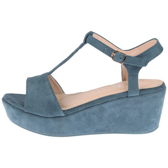 Moana Wedge Heel T Bar Sandals in Blue Faux Suede