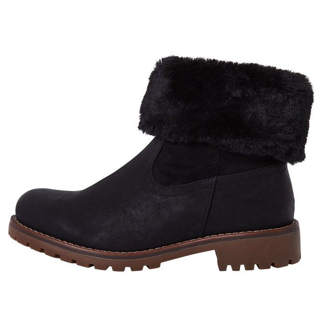 Annalee Fur Lined Ankle Boots in Black Nubuck