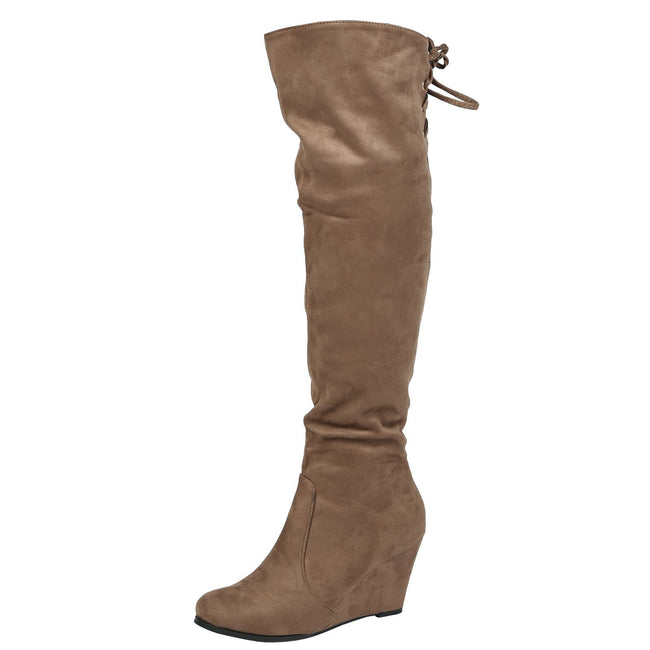 Billie Wedge Over the Knee Boots in Taupe Faux Suede
