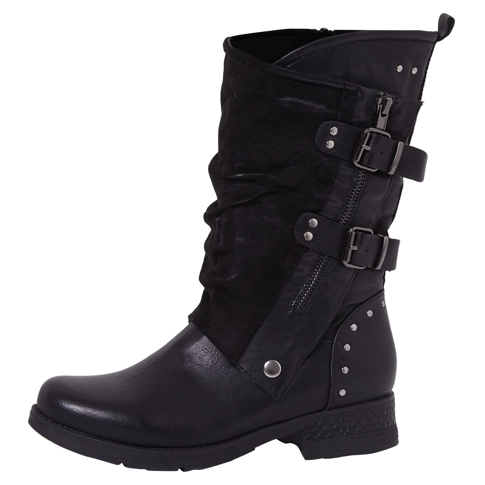 Aadhya Two Toned Mid Calf Boots in Black - Feet First Fashion