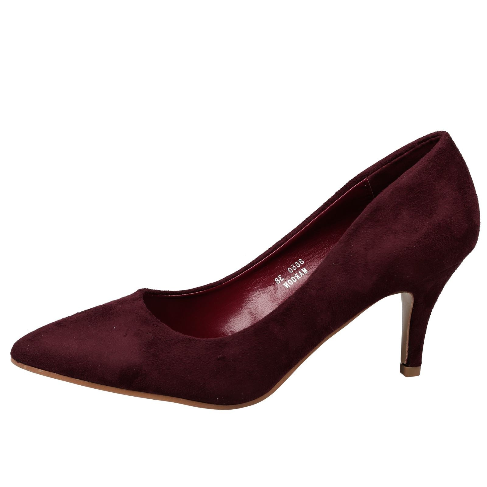 Maude Kitten Heel Pointed Toe Court Shoes in Maroon Red Faux Suede