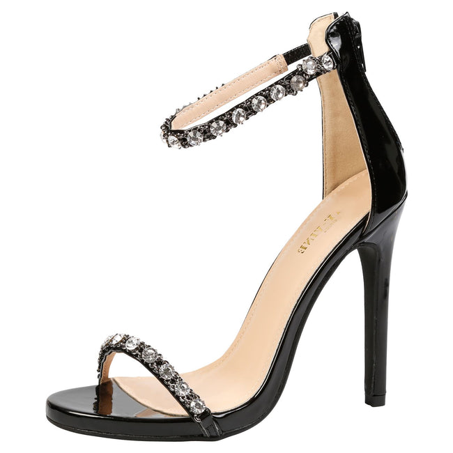 Laura Diamante Ankle Strap Sandals in Black Patent