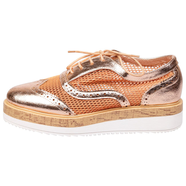 Alana Mesh Side Flatform Brogues in Rose Gold