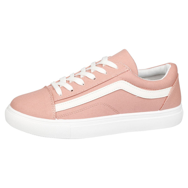Lauren Lace Up Stripe Canvas Trainers in Pink