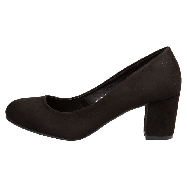 Mika Block Heel Court Shoes in Black Faux Suede