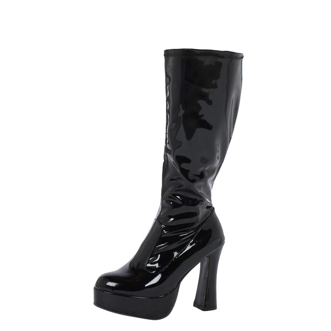 Memphis Knee High Platform GoGo Boots in Black Patent