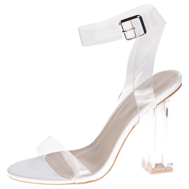 Riley Perspex Heel Barely There Sandals in Clear / White with Square Heel
