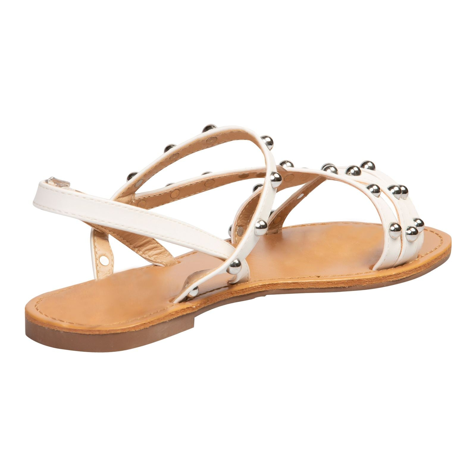 Winnifred Flat Studded Sandals in White - Feet First Fashion