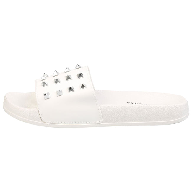 Patricia Studded Sliders in White Faux Leather