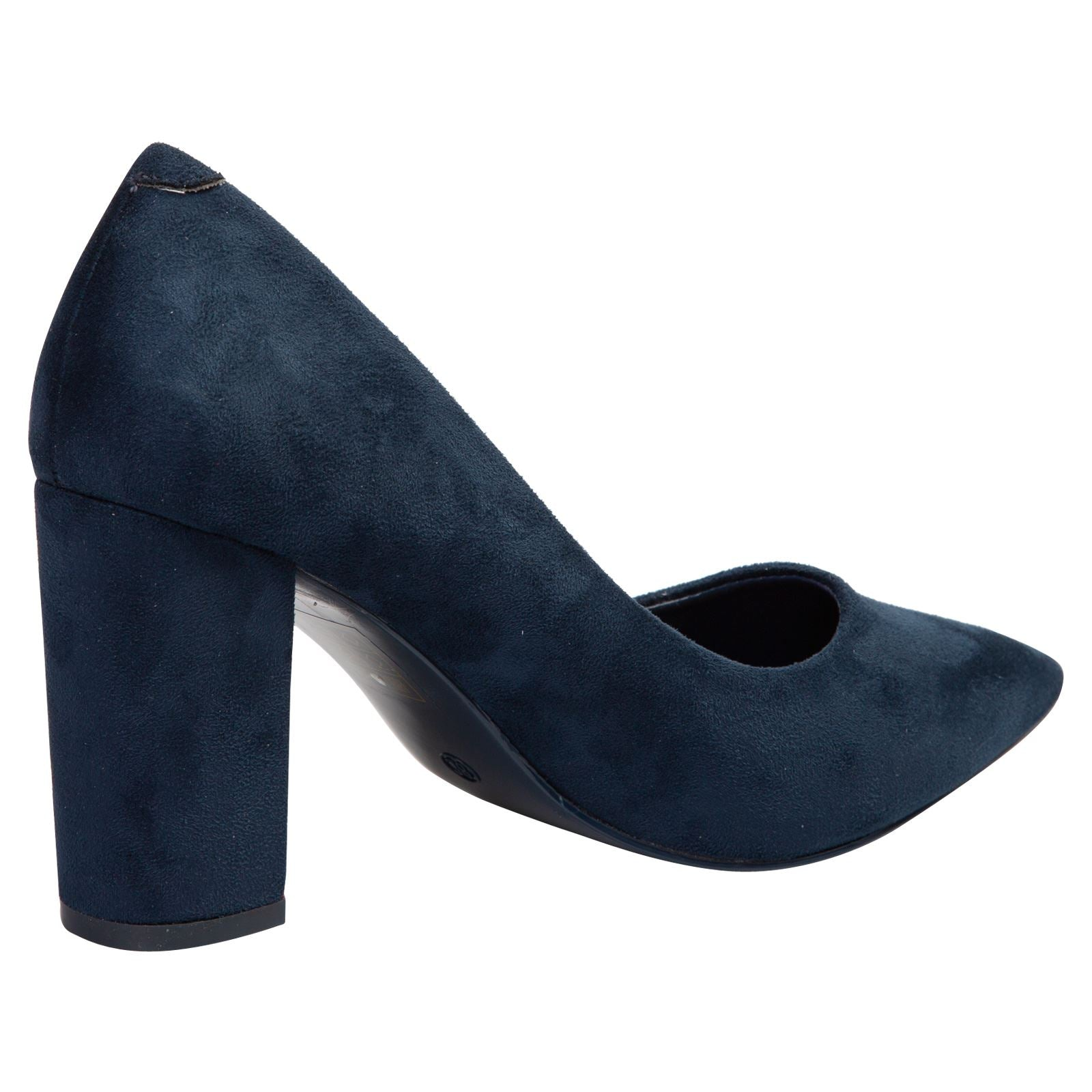 Connie Block Heel Court Shoes in Navy Blue Faux Suede - Feet First Fashion