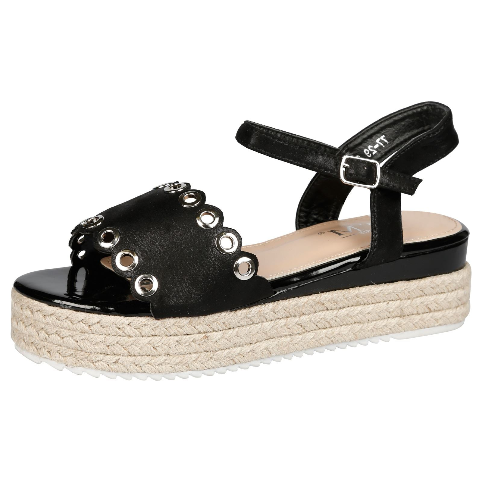 Blessing Eyelet Detail Flatform Espadrille Sandals in Black Shimmer
