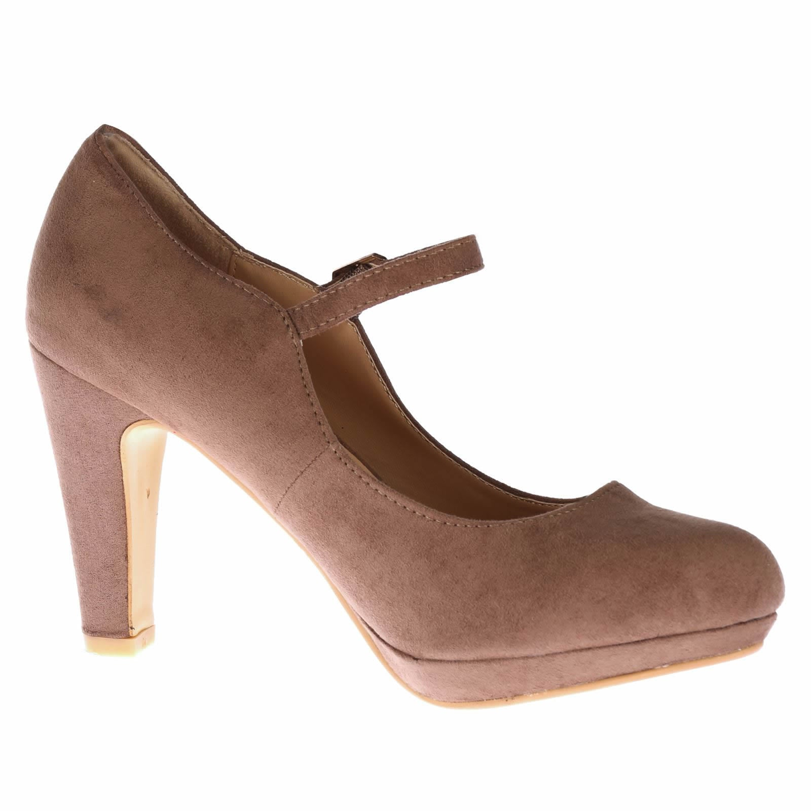 Emmeline Platform Mary Janes in Khaki Tan Faux Suede - Feet First Fashion