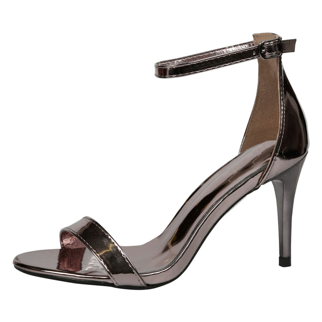 Ellen Stiletto Heel Ankle Strap Sandals in Gun Metal Patent