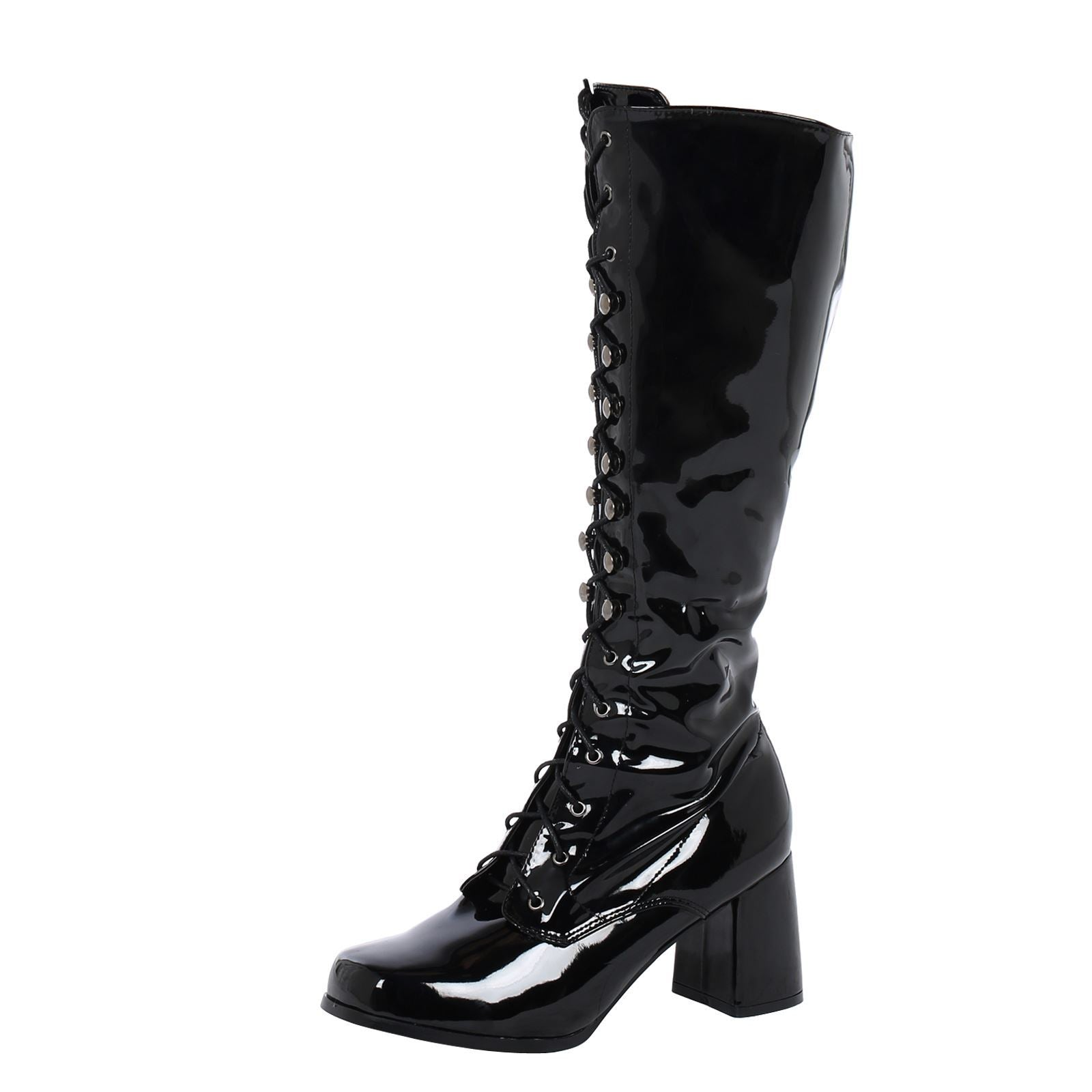 Gretchen Lace Up Knee High Boots in Black Patent