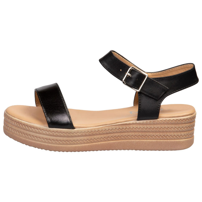 Eliana Flatform Sandals in Black Faux Leather