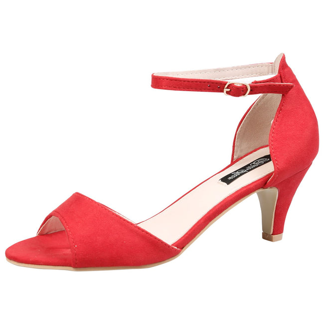Laurie Low Heel Ankle Strap Sandals in Red Faux Suede