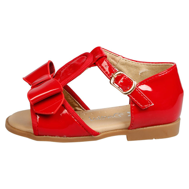 Lilian Girls T-Bar Bow Sandals in Red Patent - Feet First Fashion
