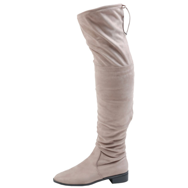 Jeannie Low Heel Over the Knee Boots in Khaki Tan Faux Suede