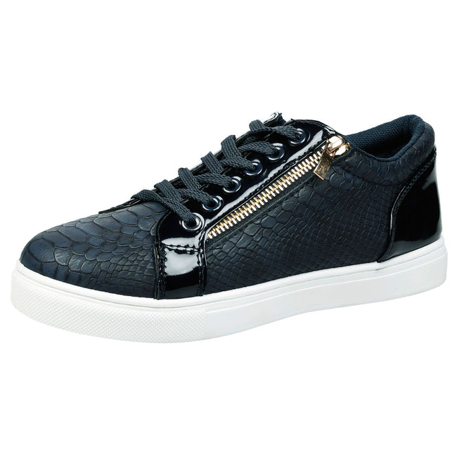 Rowena Lace Up Skater Trainers in Navy Blue Snake