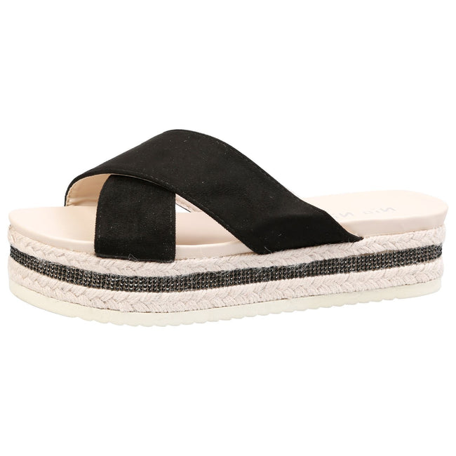 Primrose Diamante Sole Sliders in Black Faux Suede