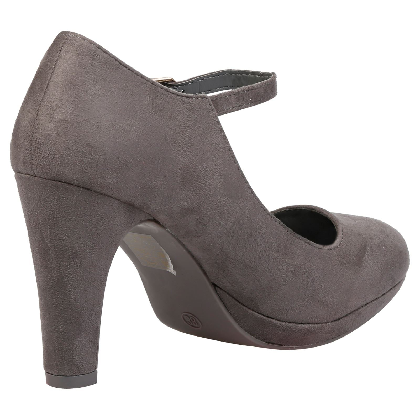 Emmeline Platform Mary Janes in Grey Faux Suede - Feet First Fashion