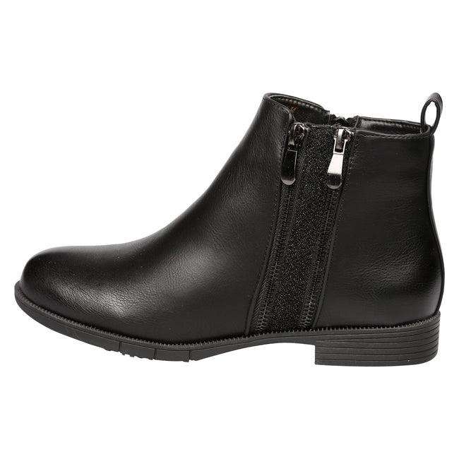 Azariah Zip Up Ankle Boots in Black Faux Leather - Feet First Fashion